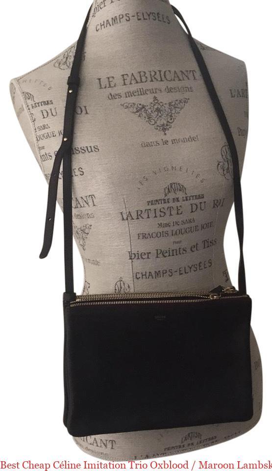 716e8e39ea Best Cheap Céline Imitation Trio Oxblood   Maroon Lambskin Leather Cross  Body Bag celine bag replica