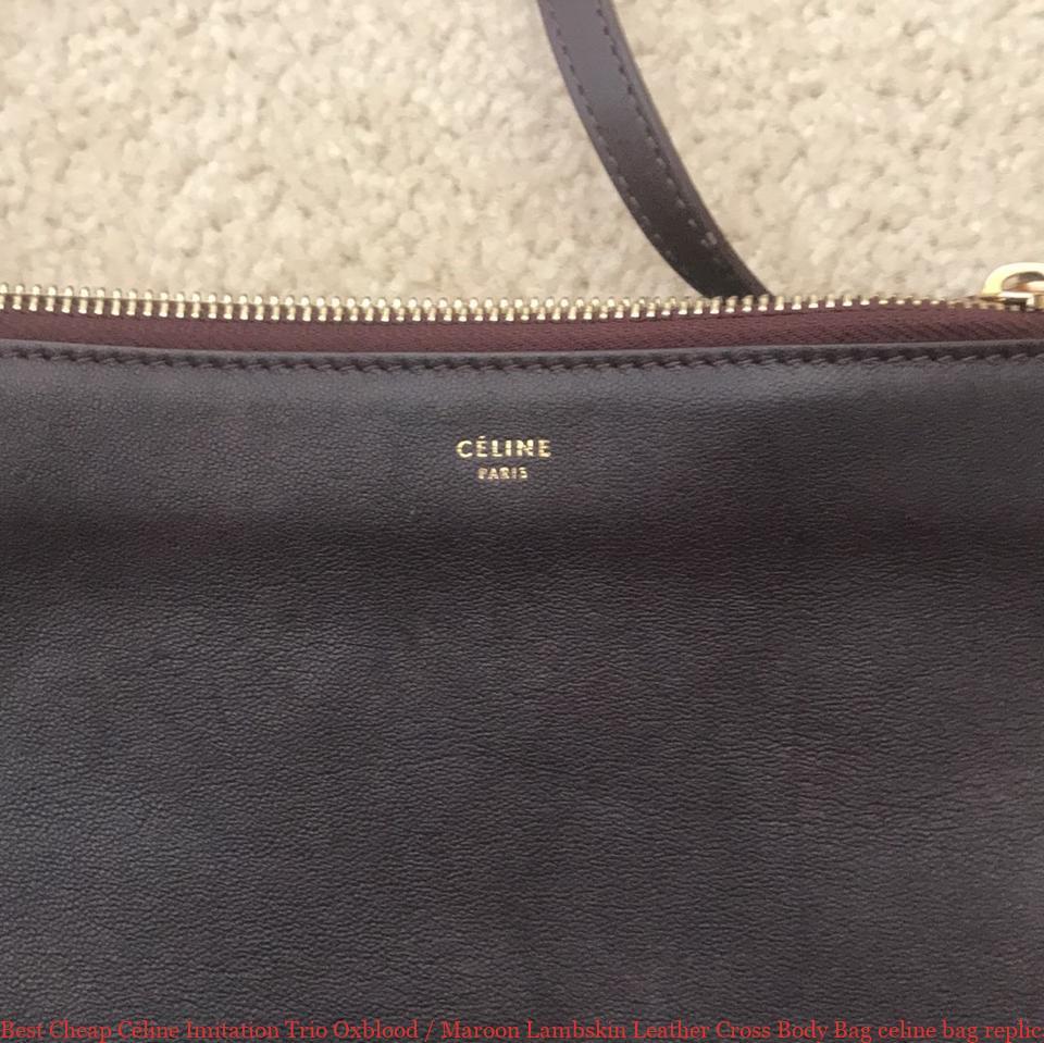 Best Cheap Céline Imitation Trio Oxblood   Maroon Lambskin Leather Cross  Body Bag celine bag replica 5dedbe99739f0