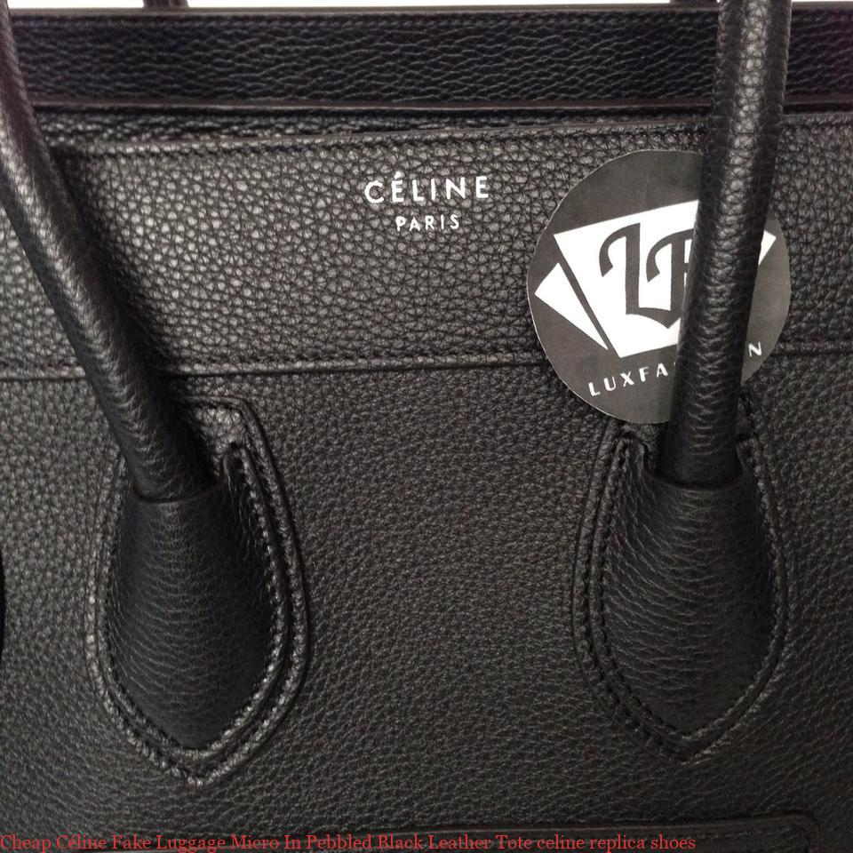 Cheap Céline Fake Luggage Micro In Pebbled Black Leather Tote celine  replica shoes dc43d73bef59b