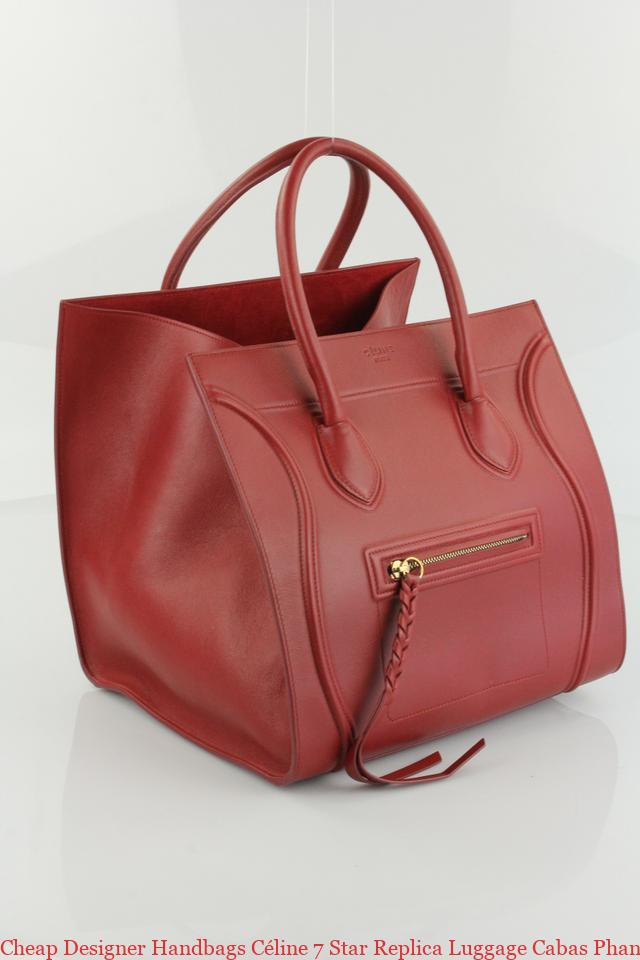 0b3d9bd9d65 Cheap Designer Handbags Céline 7 Star Replica Luggage Cabas Phantom Medium  Red Leather Tote fake handbags