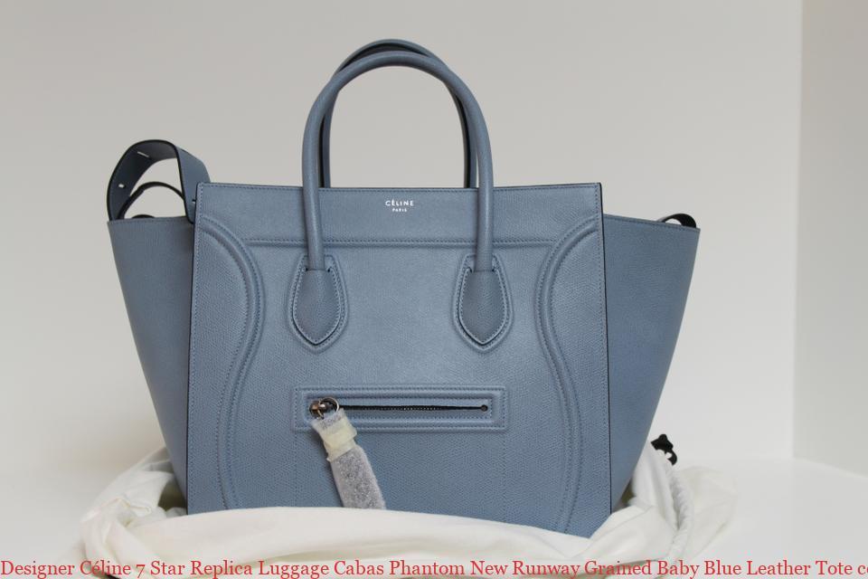 b47bbb0a28da Designer Céline 7 Star Replica Luggage Cabas Phantom New Runway Grained  Baby Blue Leather Tote celine trio bag