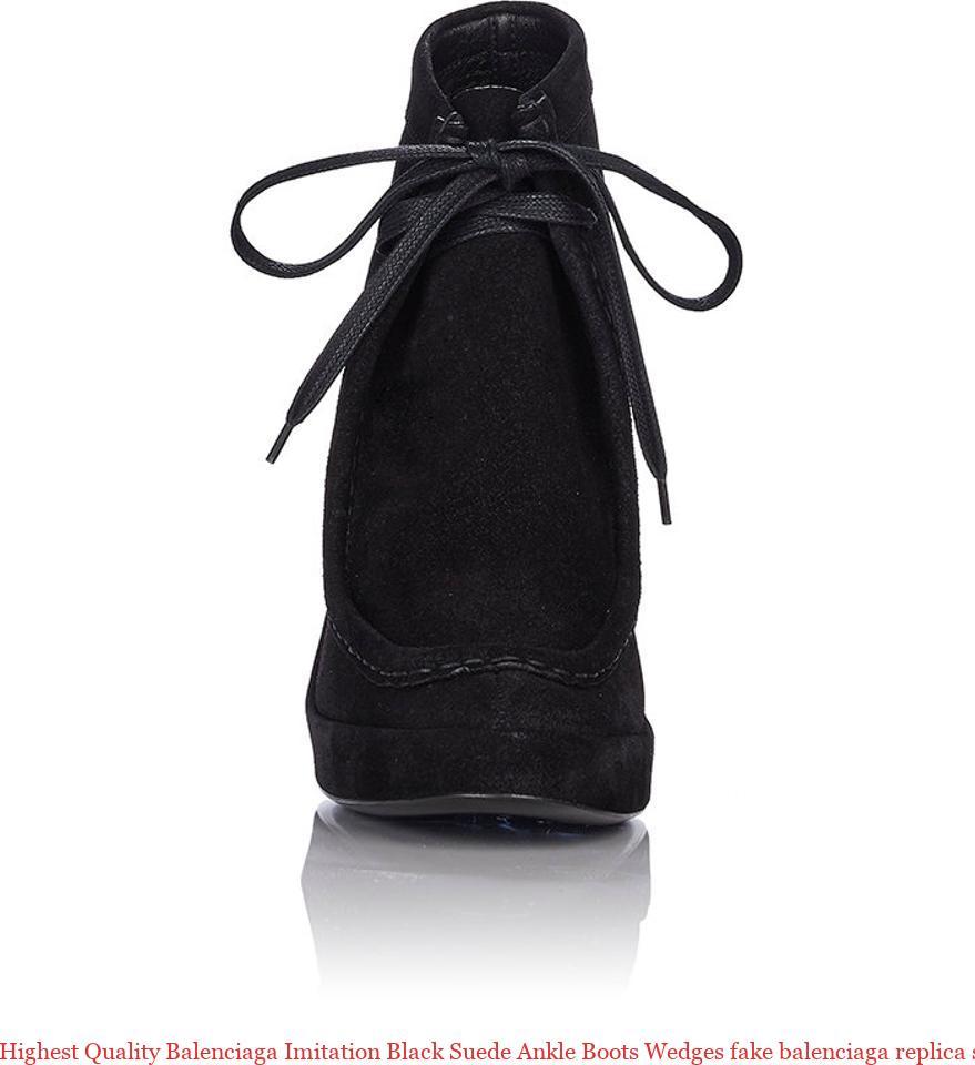 40b0336271662 Highest Quality Balenciaga Imitation Black Suede Ankle Boots Wedges fake  balenciaga replica sock shoes