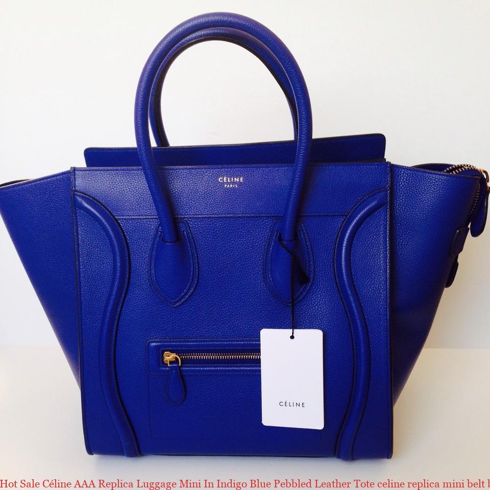 ff98659f70 Hot Sale Céline AAA Replica Luggage Mini In Indigo Blue Pebbled Leather Tote  celine replica mini belt bag
