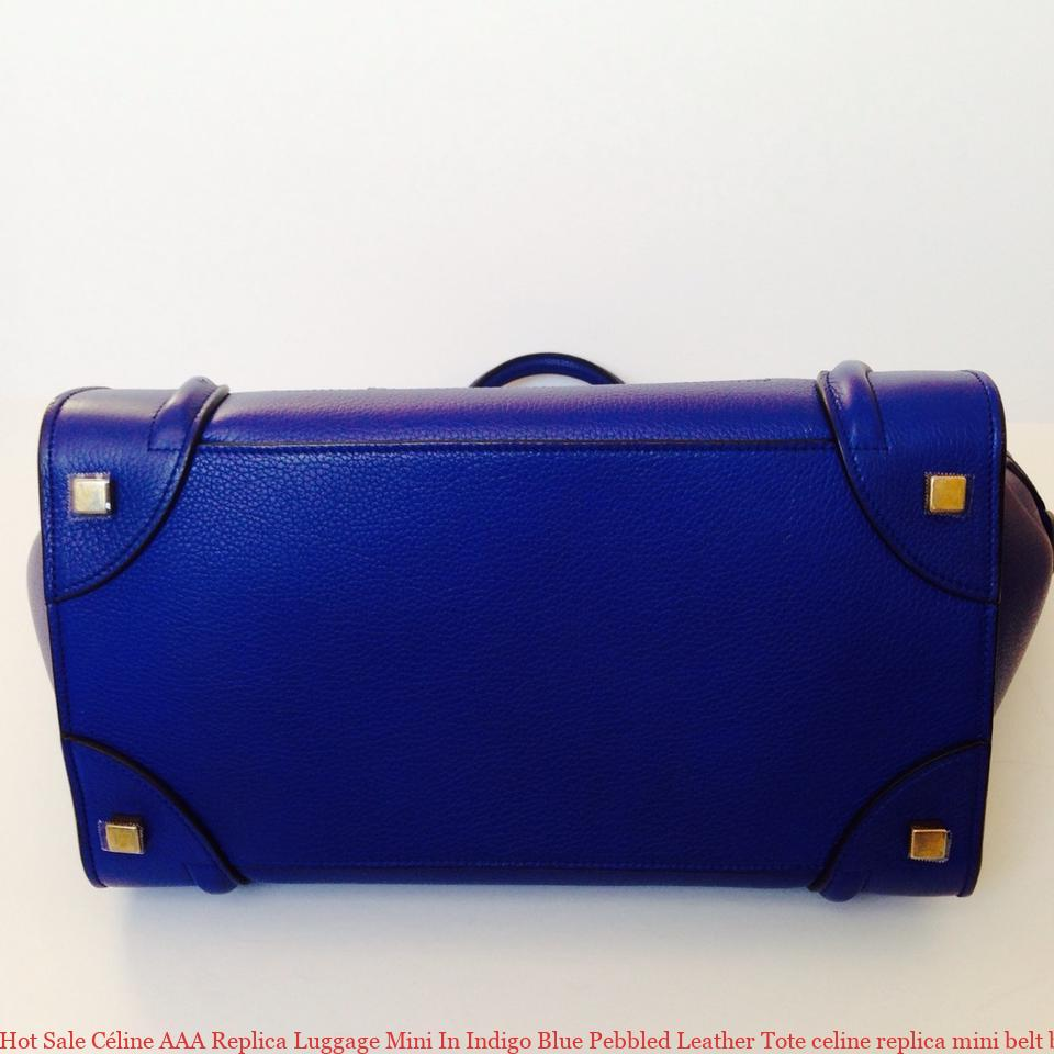 704b673a3d Hot Sale Céline AAA Replica Luggage Mini In Indigo Blue Pebbled Leather Tote  celine replica mini belt bag