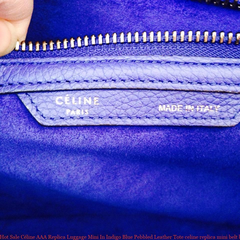 Hot Sale Céline AAA Replica Luggage Mini In Indigo Blue Pebbled Leather  Tote celine replica mini belt bag 4cc6ffbb49ff0