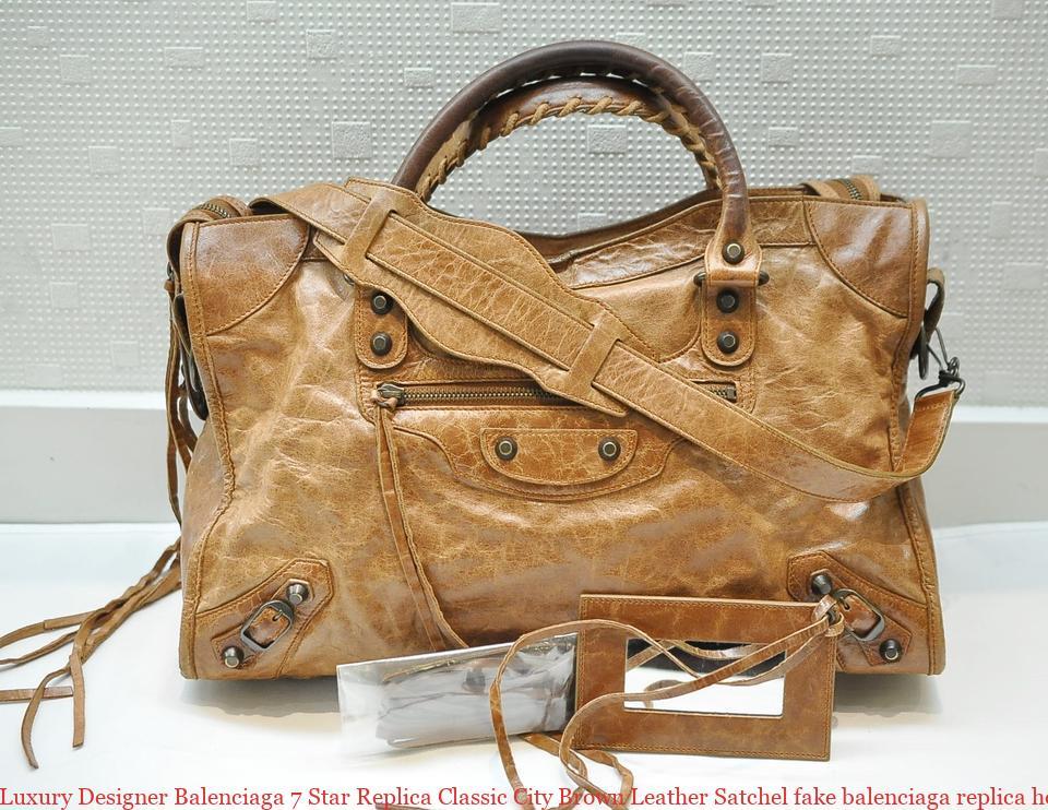 3497ed0d878a Luxury Designer Balenciaga 7 Star Replica Classic City Brown Leather  Satchel fake balenciaga replica hoodie