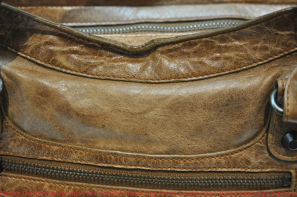 58a2f48c2e4d Luxury Designer Balenciaga 7 Star Replica Classic City Brown Leather Satchel  fake balenciaga replica hoodie
