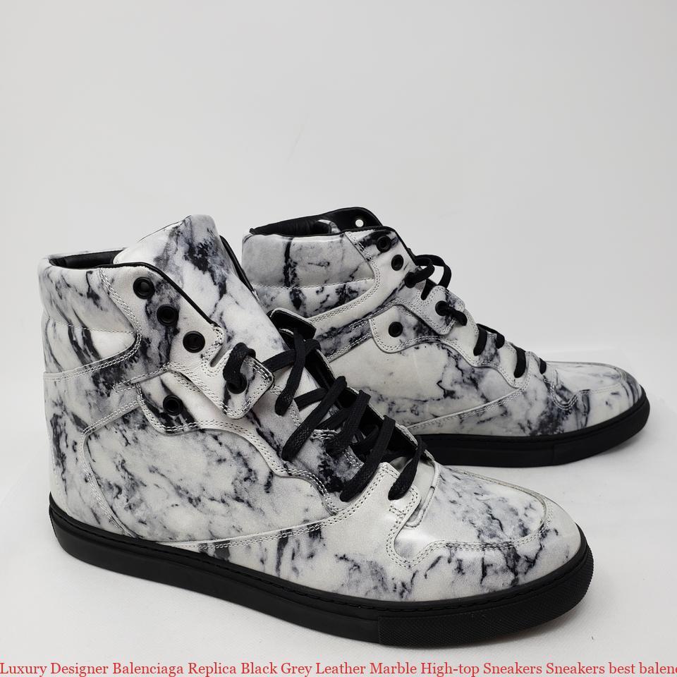 01f72216d58c Luxury Designer Balenciaga Replica Black Grey Leather Marble High-top Sneakers  Sneakers best balenciaga speed trainer replica