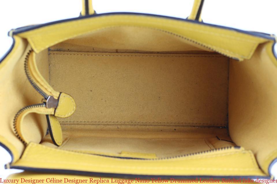 a029c705d580 Luxury Designer Céline Designer Replica Luggage Nano Yellow Drummed Leather  Satchel fake designer bags uk