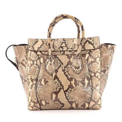 ccb80b927a4 Wholesale Handbags Céline 1 1 Mirror Replica Luggage Handbag Beige Python  Skin Tote fake designer websites